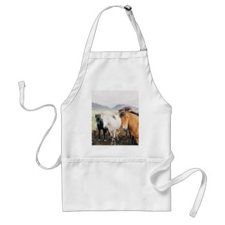 Three Themed, Iceland  Brown, White And Black Hors Adult Apron