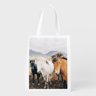 Three Themed, Iceland  Brown, White And Black Hors Reusable Grocery Bag