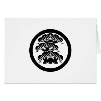 Three-tiered pine with arashi L in circle Card