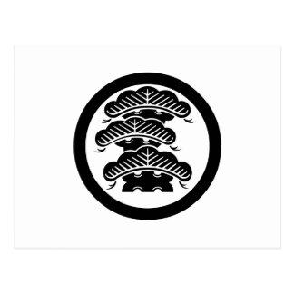 Three-tiered pine with arashi L in circle Postcard