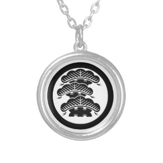 Three-tiered pine with arashi L in circle Silver Plated Necklace