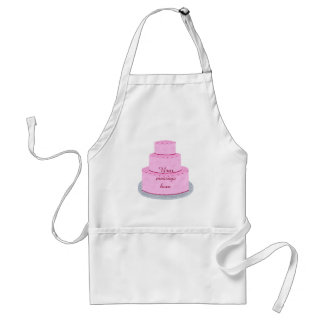 Three Tiered Pink Cake Your Message Aprons