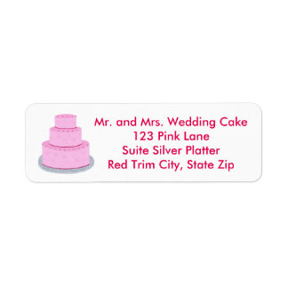 Three Tiered Pink Wedding Cake Address Labels