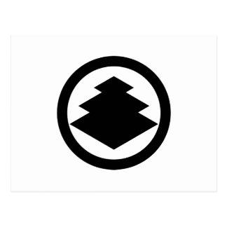 Three-tiered rhombuses in circle postcard