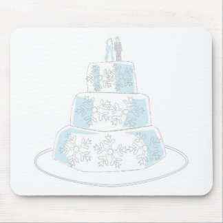 Three Tiered Wedding Cake with Snowflake Trim Mouse Pads