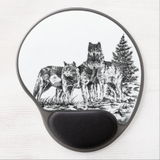 Three Timber Wolves Gel Mouse Pad