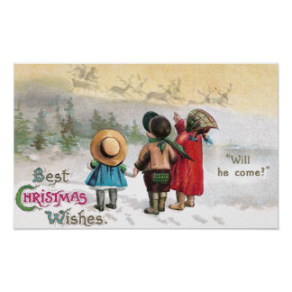 Three Tiny Tots Eagerly Await Santa Posters