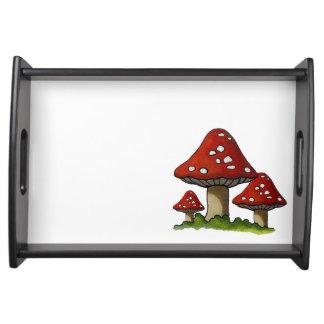 Three Toadstools or Mushrooms Original Art Food Tray