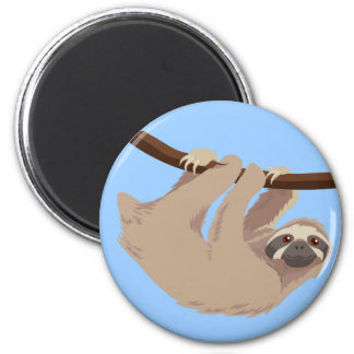 Three Toed Sloth 2 Inch Round Magnet