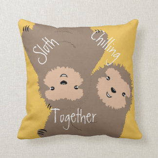 Three Toed Sloth Chilling Together Illustration Throw Pillows