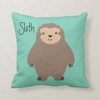 Three Toed Sloth Illustration Throw Pillows