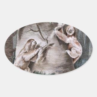 Three Toed Sloths Vintage Art Oval Sticker