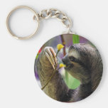 Three-Toed Tree Sloth Basic Round Button Keychain