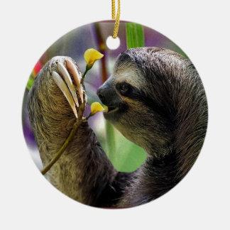 Three-Toed Tree Sloth Double-Sided Ceramic Round Christmas Ornament