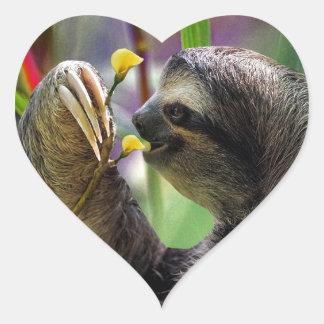 Three-Toed Tree Sloth Heart Sticker