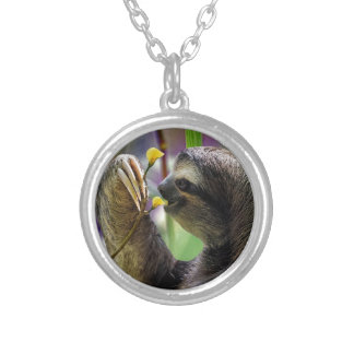 Three-Toed Tree Sloth Silver Plated Necklace