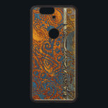 "Three Tone Blue Jean Swirl Wood Nexus 6P Case<br><div class=""desc"">Distressed,  intricate orange and yellow fleur de swirl artwork design overlapped with blue-jean blue detailing.</div>"