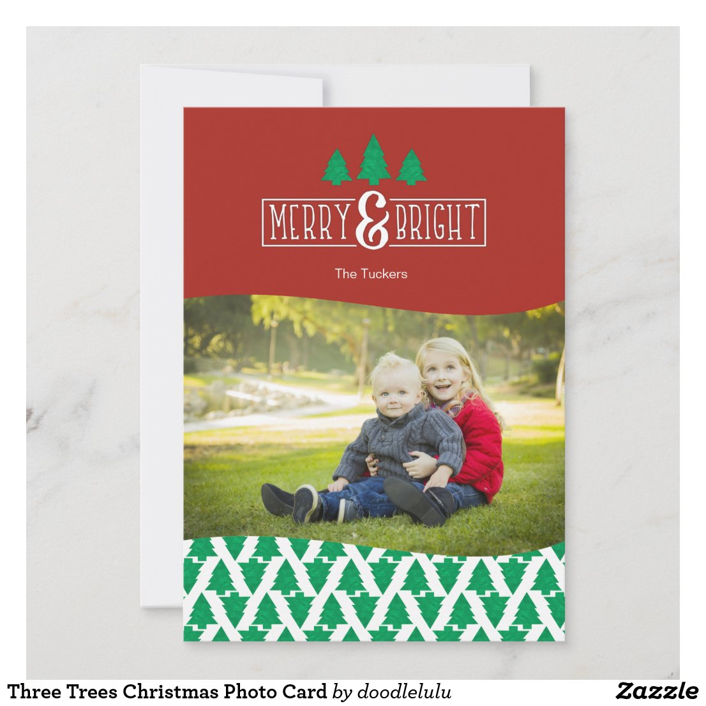 Three Trees Christmas Photo Card