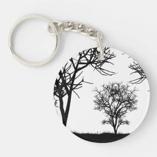 Three Trees Double-Sided Round Acrylic Keychain