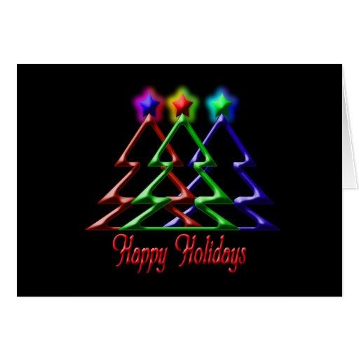 Three Trees Happy Holidays Greeting Card