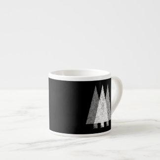 Three Trees in Black and White. 6 Oz Ceramic Espresso Cup
