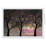 Three Trees on a Pink Watercolor Background Greeting Cards