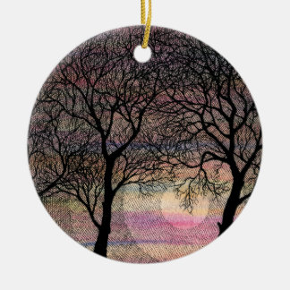 Three Trees on a Pink Watercolor Background Double-Sided Ceramic Round Christmas Ornament