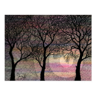 Three Trees on a Pink Watercolor Background Postcard