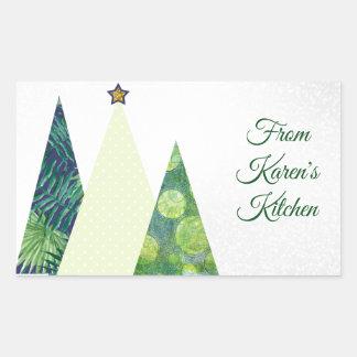Three Trendy Crafter's Christmas Trees holiday Rectangular Sticker