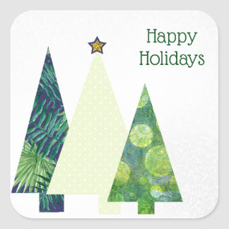 Three Trendy Crafter's Christmas Trees holiday Square Sticker