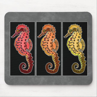 Three Tribal Seahorses on Black Plaques Mouse Pad