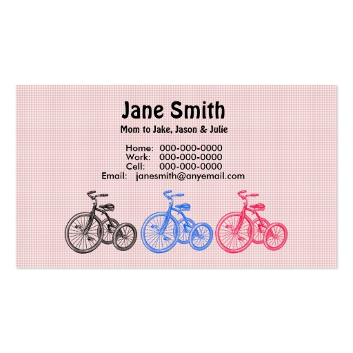 Three Tricycles Contact Card Business Card Templates