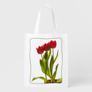Three Tulips in a Row - Portrait Grocery Bag