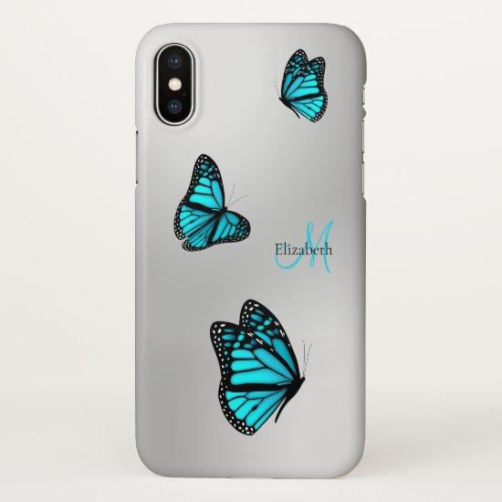 three turquoise butterflies in flight monogrammed iPhone x case