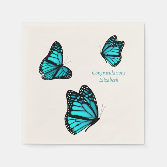 three turquoise butterflies personalized cocktail napkins