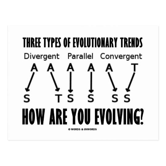 Three Types Of Evolutionary Trends (Evolution) Postcard