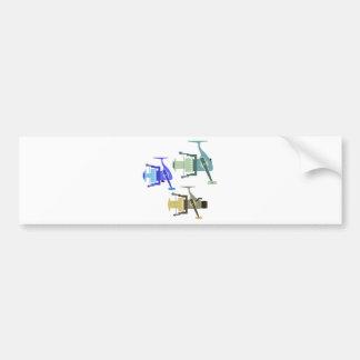 Three types of spinning reels vector illustration bumper sticker