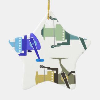 Three types of spinning reels vector illustration ceramic ornament