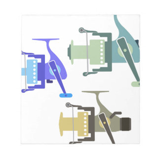 Three types of spinning reels vector illustration notepad