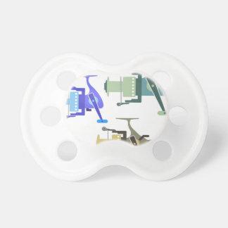 Three types of spinning reels vector illustration pacifier