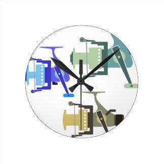 Three types of spinning reels vector illustration round clock