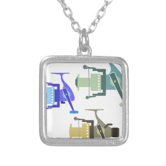 Three types of spinning reels vector illustration silver plated necklace