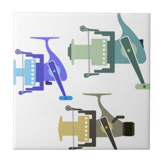Three types of spinning reels vector illustration tile