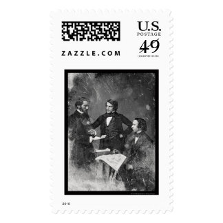 Three Unidentified Men Daguerreotype 1853 Stamp