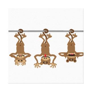 Three unwise monkeys canvas print