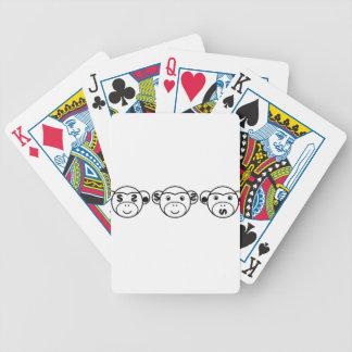 Three Unwise Monkeys (dollar, black) Bicycle Playing Cards