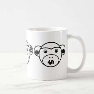 Three Unwise Monkeys (dollar, black) Coffee Mug