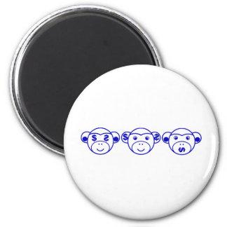 Three Unwise Monkeys (dollar, blue) 2 Inch Round Magnet