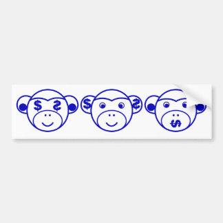 Three Unwise Monkeys (dollar, blue) Bumper Sticker