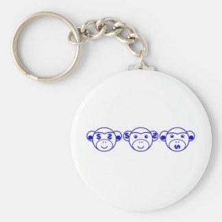Three Unwise Monkeys (dollar, blue) Keychain